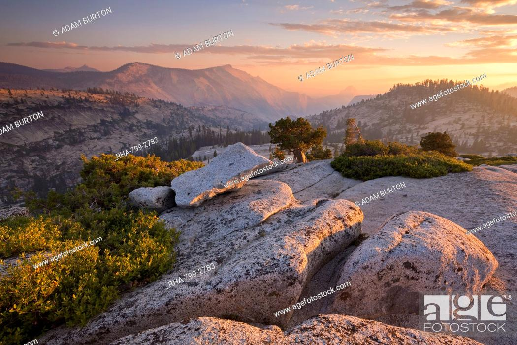 Stock Photo: View towards Half Dome at sunset, from Olmsted Point, Yosemite National Park, UNESCO World Heritage Site, California, United States of America, North America.