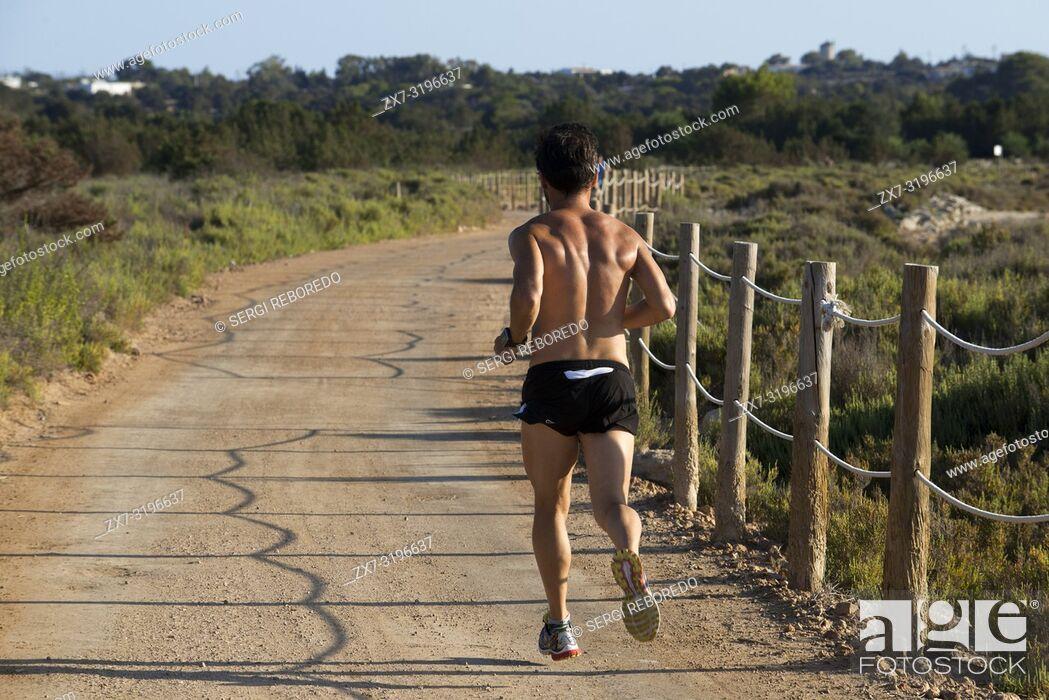 Stock Photo: Running and Jogging in La Savina; Pudent Lake. Formentera. Balearic Islands, Spain, Europe.