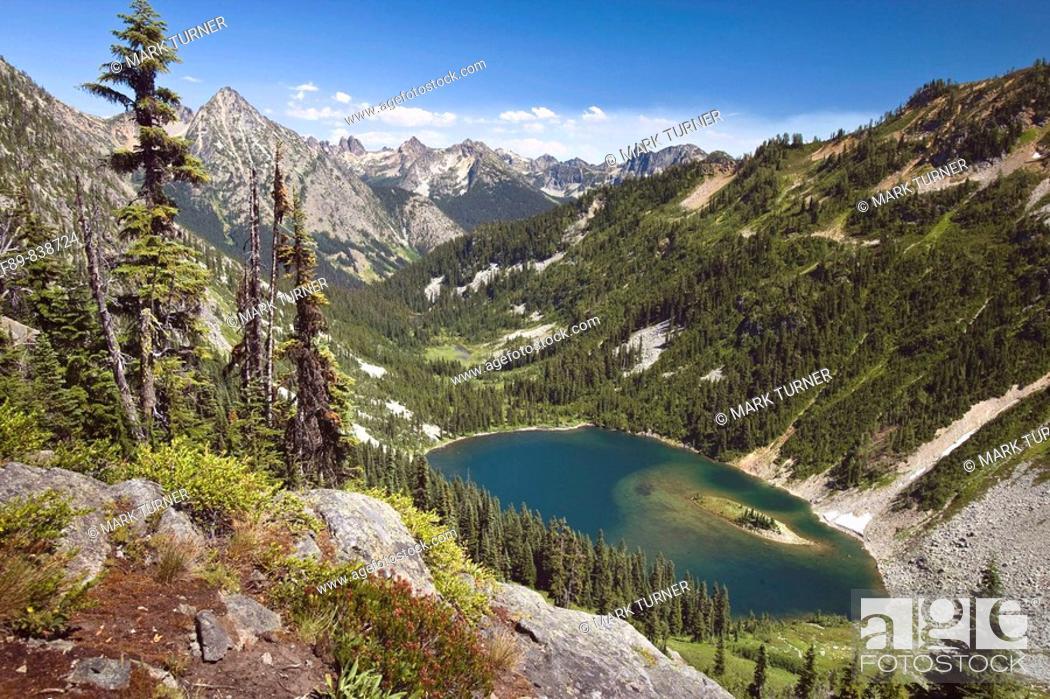 Stock Photo: Mountain lake in glacial cirque, North Cascades National Park.
