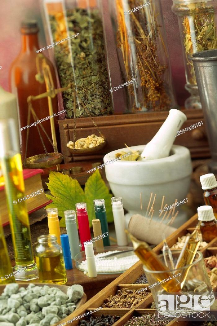 Stock Photo: ALTERNATIVE MEDICINE<BR>Homeopathy. Herbal medicine. Essential oil. Clay.