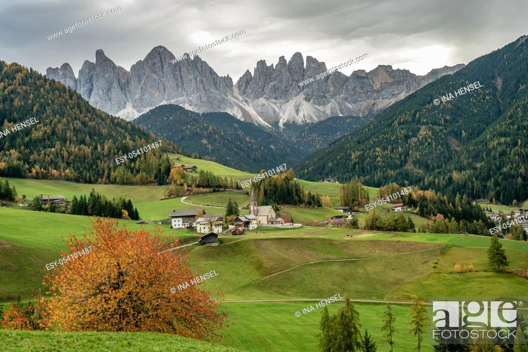 Imagen: The famous church St. Magdalena in Santa Maddalena in Villnoess valley, South Tyrol on a colourful autumn day.