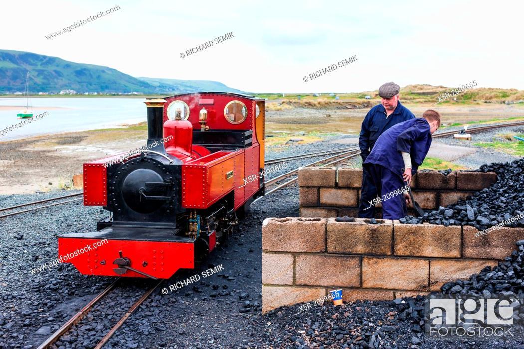 Stock Photo: steam locomotive, Fairbourne narrow gauge railway, Wales.