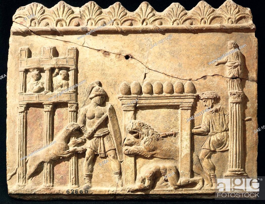 Stock Photo: Roman civilization, 1st century b.C. Terracotta relief depicting lions and gladiators fighting in the circus.  Roma, Museo Nazionale Romano Palazzo Massimo Alle.