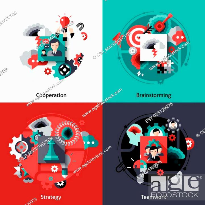 Stock Vector: Brainstorming And Teamwork Set.