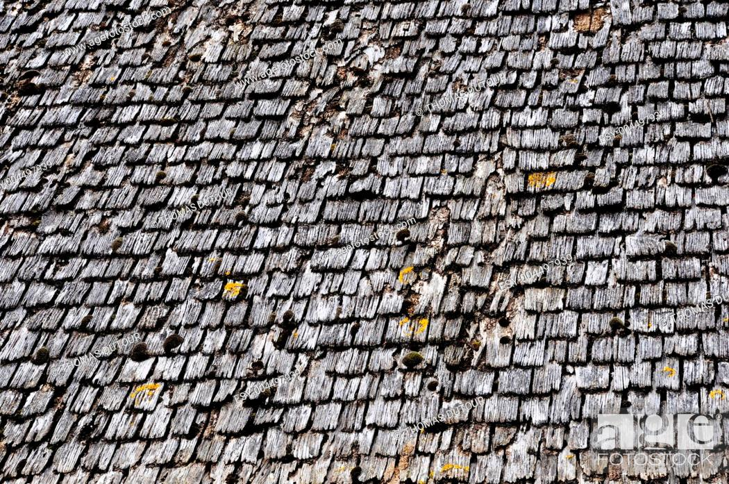 Stock Photo: Old wood tiled roof.