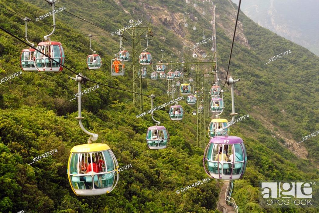 Stock Photo: Cable cars connecting Low Land and High Land in Ocean's Park, Hong Kong, HKSAR.