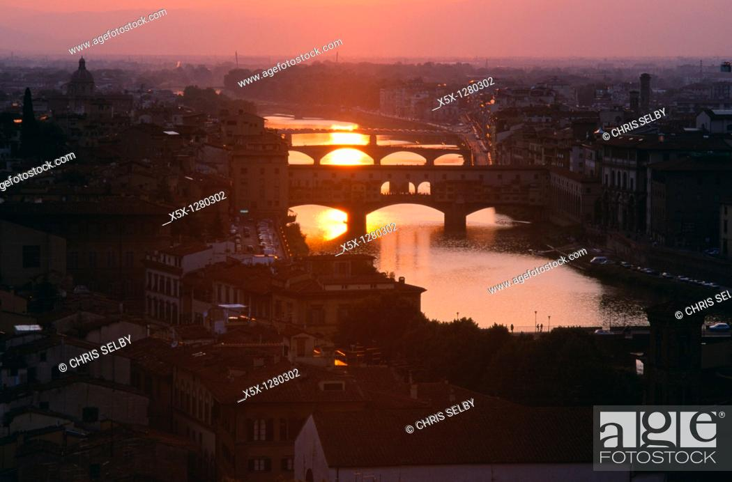Stock Photo: Sunset over the Arno river with bridges, Florence, Tuscany, Italy.