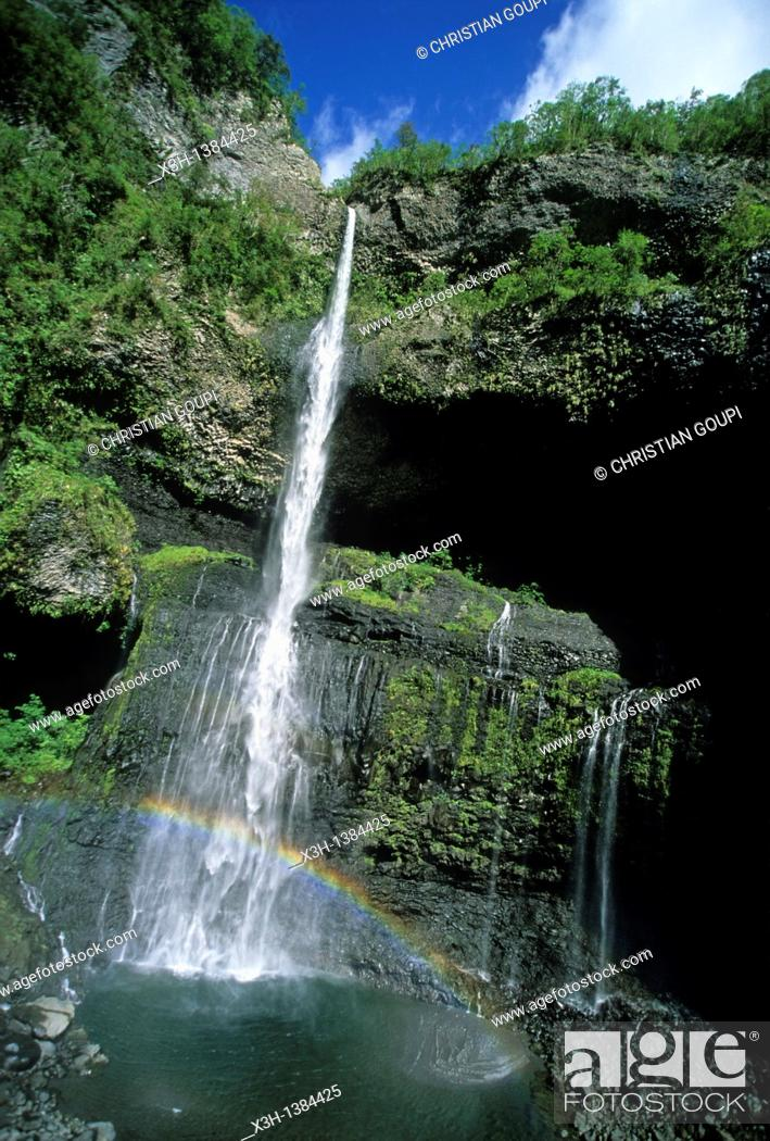 Stock Photo: falls in the canyon Trou de Fer Reunion island, overseas departement of France, Indian Ocean.