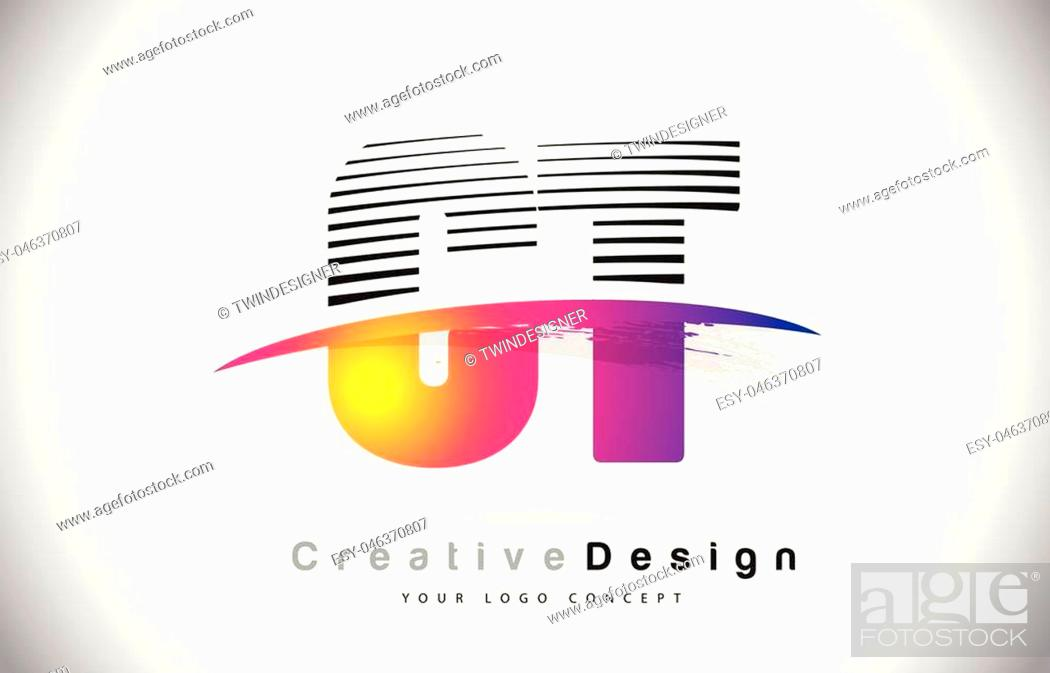 Stock Vector: CT C T Letter Logo Design With Creative Lines and Swosh in Purple Brush Color Vector Illustration.