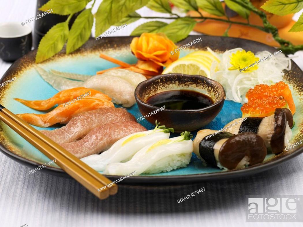 Stock Photo: soy sauce, plate, chopsticks, decoration, food styling, sake bottle, sushi plate.