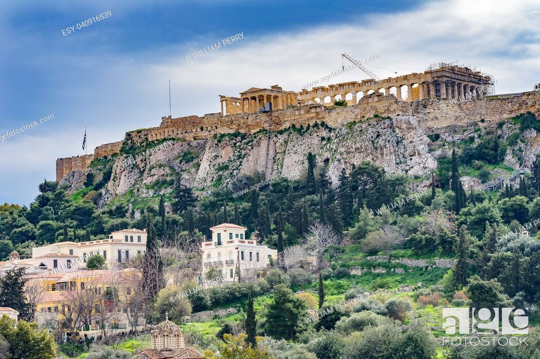 Stock Photo: Ancient Agora Market Place Fields Church Parthenon Acropolis Athens Greece. Agora founded 6th Century BC, Parthenon built 438 BC symbol of ancient Greece.
