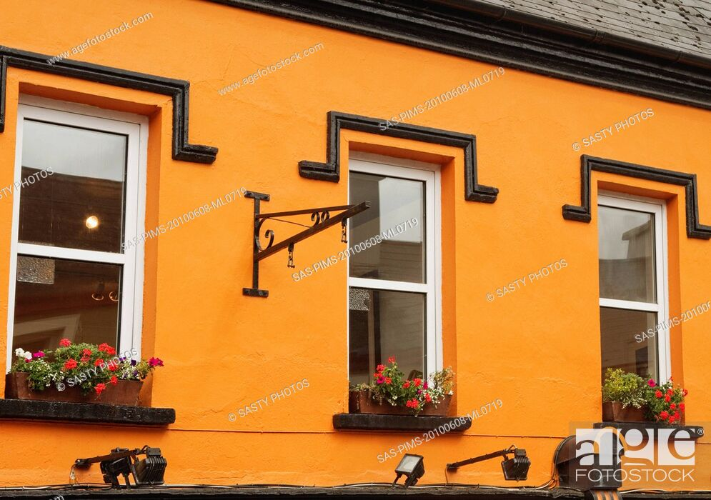 Stock Photo: Windows of a building, Kenmare, County Kerry, Republic of Ireland.