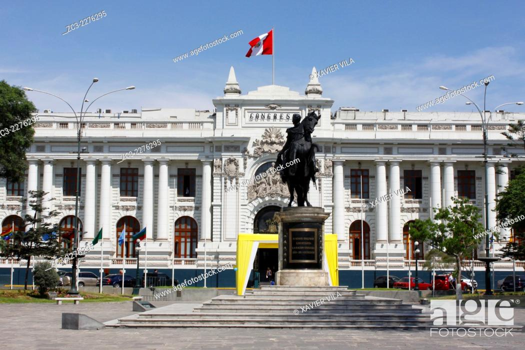 Stock Photo: Congress of the Republic of Peru, Congreso de la Republica del Peru, Lima, capital of Peru.