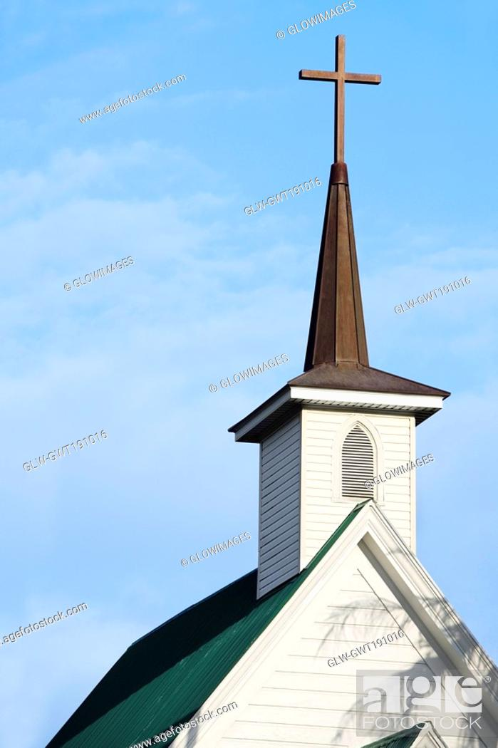 Stock Photo: High section view of a church, Kappau, Big Island, Hawaii Islands, USA.