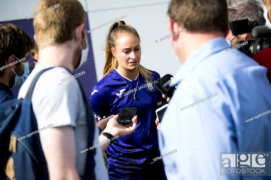 Stock Photo: Anderlecht new player Tessa Wullaert talks to the press after a press conference of RSC Anderlecht Women to present their latest transfer.