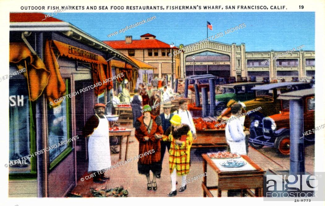 Stock Photo Outdoor Fish Market And Seafood Restaurants Fisherman S Wharf San Francisco