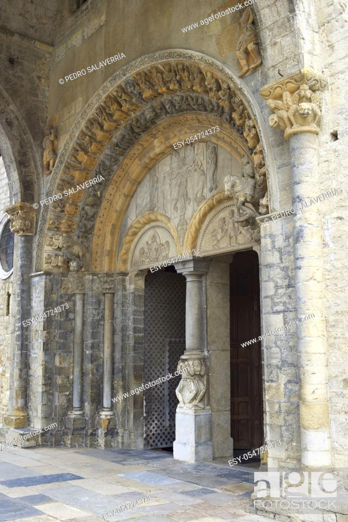 Stock Photo: Entrance to Cathedral of Saint Mary of Oloron Sainte Marie in France.