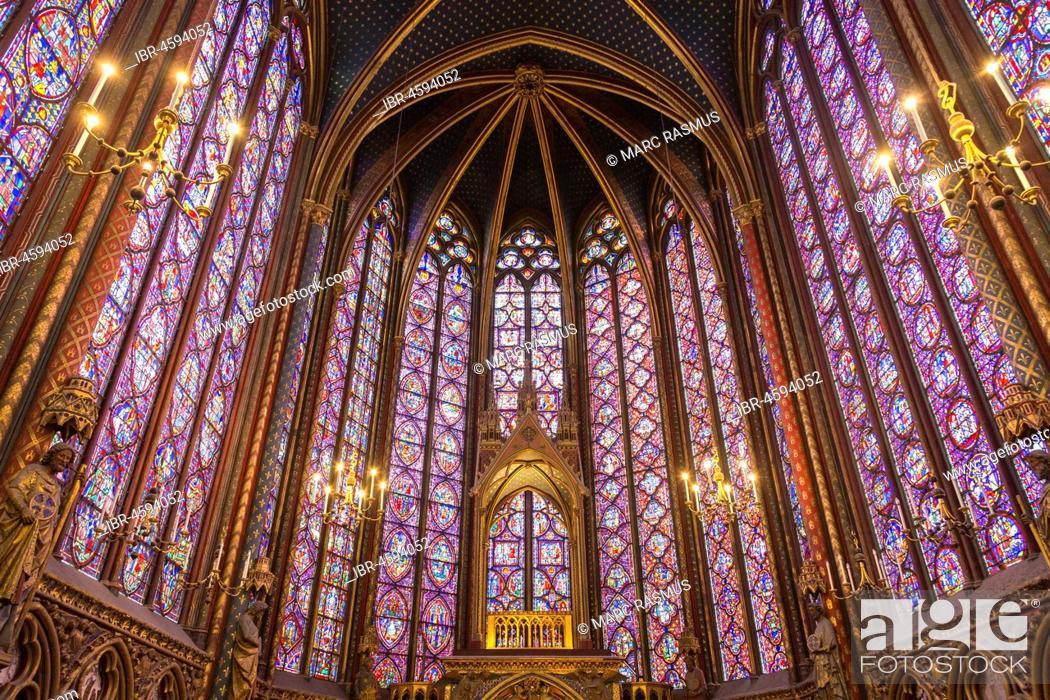 Chapel Sainte Chapelle Interior View Ile De La Cite Paris France