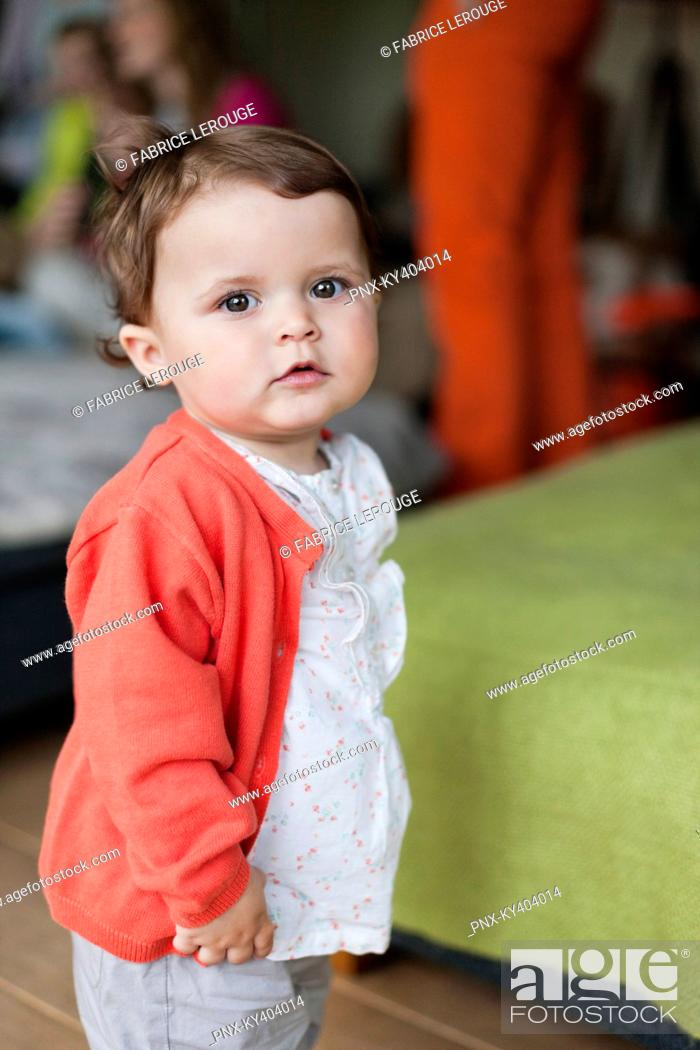 Stock Photo: Portrait of a cute baby girl.