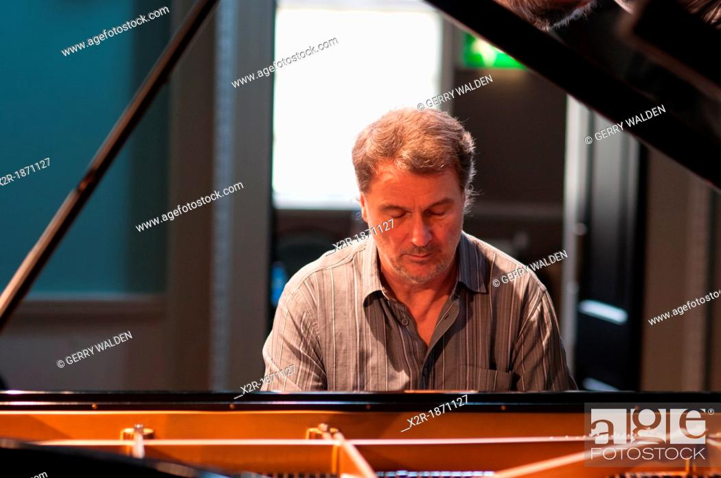 Stock Photo: Bobo Stenson, the Swedish Grammy Award winning pianist, photographed during rehearsals for his Bath Festival performance.