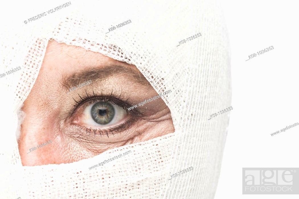 Stock Photo: Bandaged head.