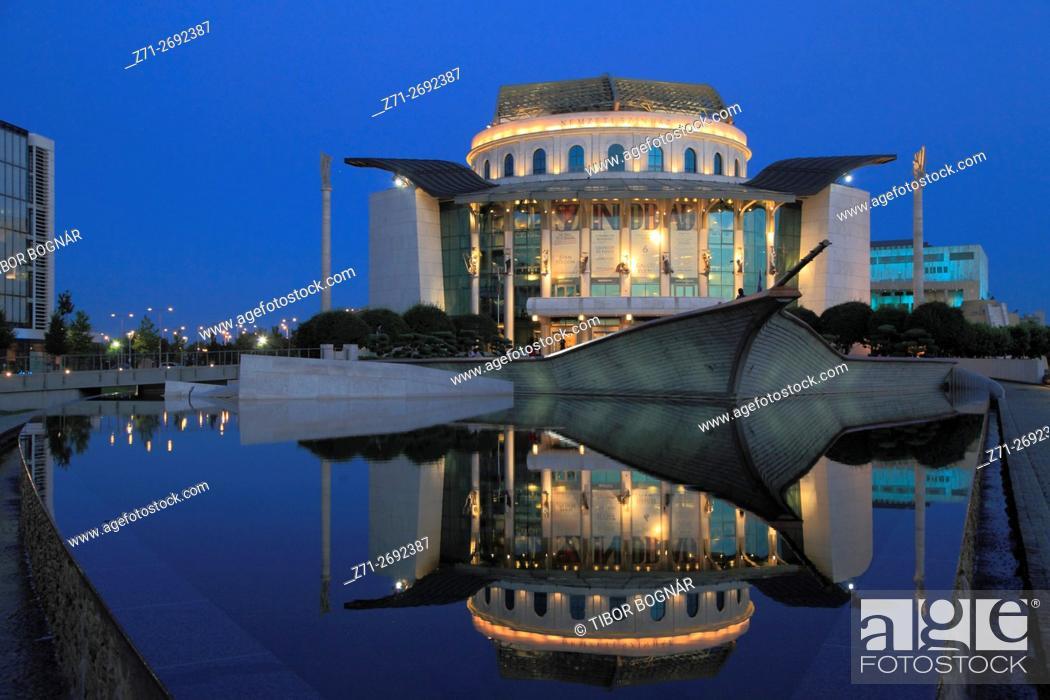 Stock Photo: Hungary, Budapest, National Theatre, modern architecture, night,.