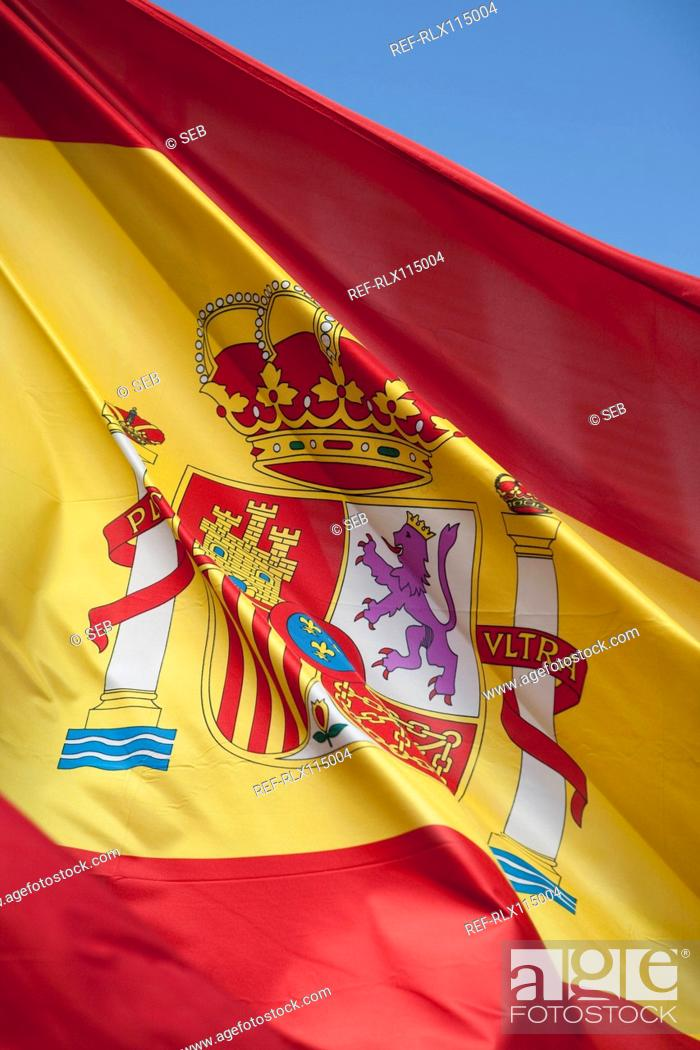 Stock Photo: Spanish flag, Plaza Mayor, Madrid, Spain.