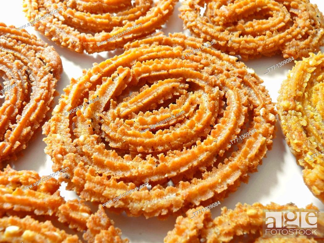 Stock Photo: Chakri, Murukku, Chakli, Famous Crunchy Snack in India.
