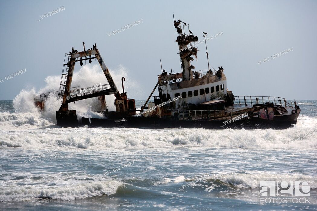 Stock Photo: Shipwreck on Skeleton Coast - North of Swakopmund, Namibia, Africa.