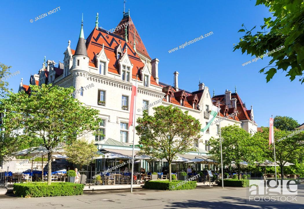 Stock Photo: Château d'Ouchy, Ouchy, Lausanne, Vaud, Switzerland.