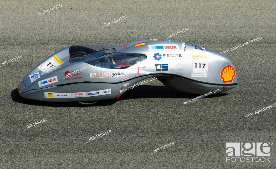 Stock Photo: Fuel economical test vehicle built by students, on the race track at Cartagena, Murcia, Spain, Europe.