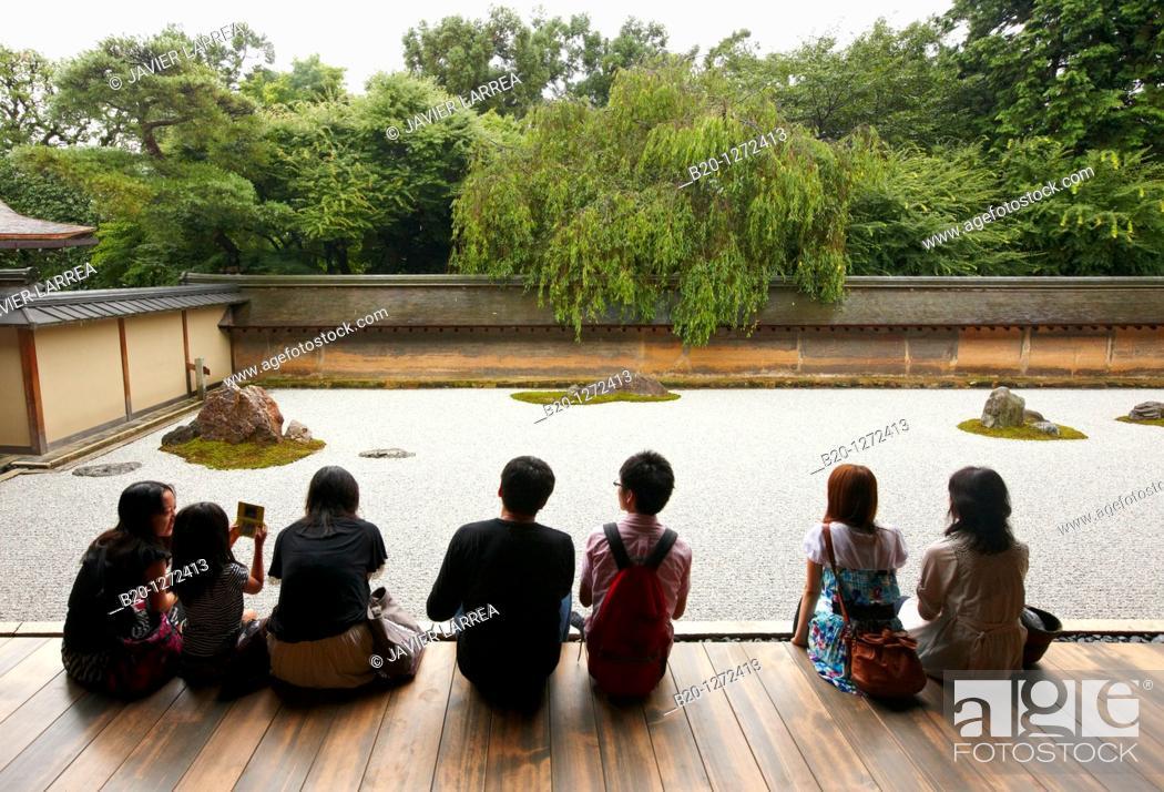 Stock Photo: The Rock Garden, Ryoanji Temple, Kyoto, Japan.