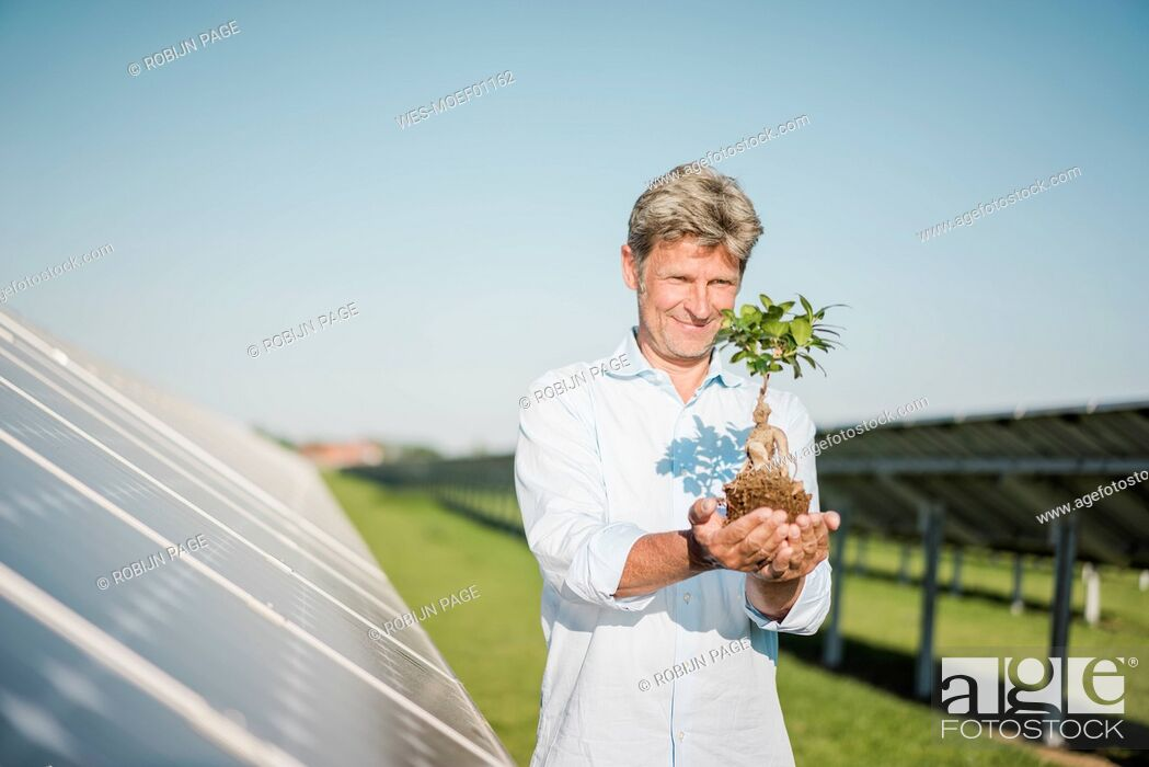 Stock Photo: Mature man looking at privet, solar plant.
