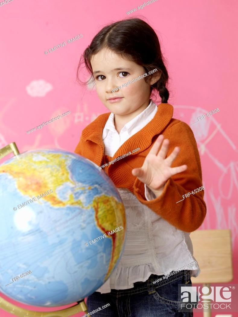 Photo de stock: Girl with a globe.