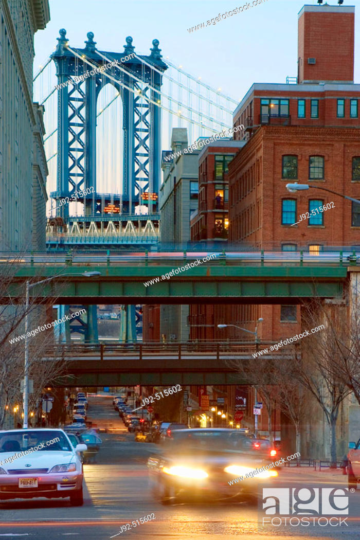 Stock Photo: Manhattan Bridge. View from Cadman Plaza, Brooklyn. In forgraound BQE overpass. New York. USA.
