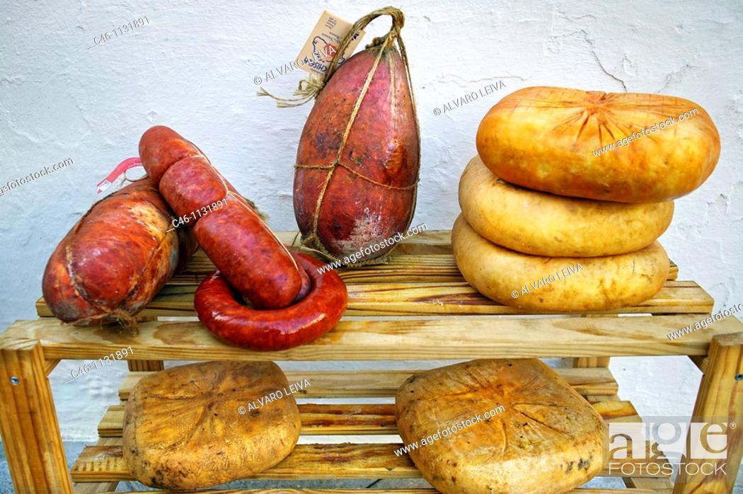 Stock Photo: Homemade Mahón cheeses and sobrasada.  Minorca. Balearic Islands. Spain.