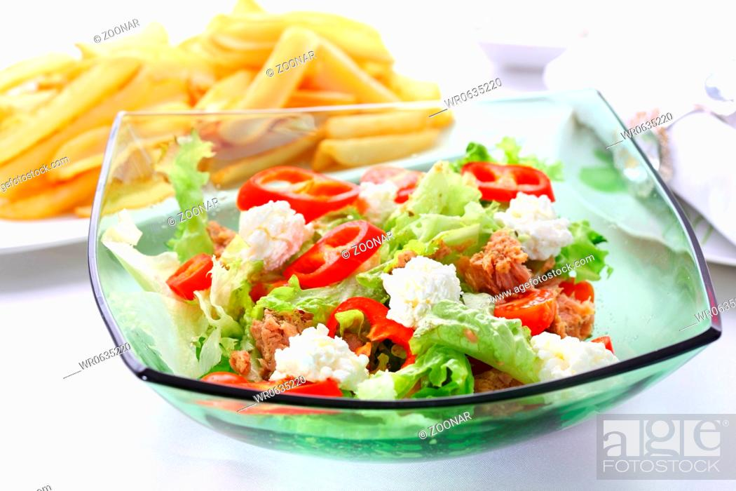 Stock Photo: Mixed vegetable salad with tuna.
