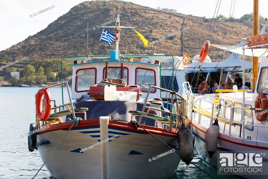 Stock Photo: Yachts moored at a harbor, Skala, Patmos, Dodecanese Islands, Greece.