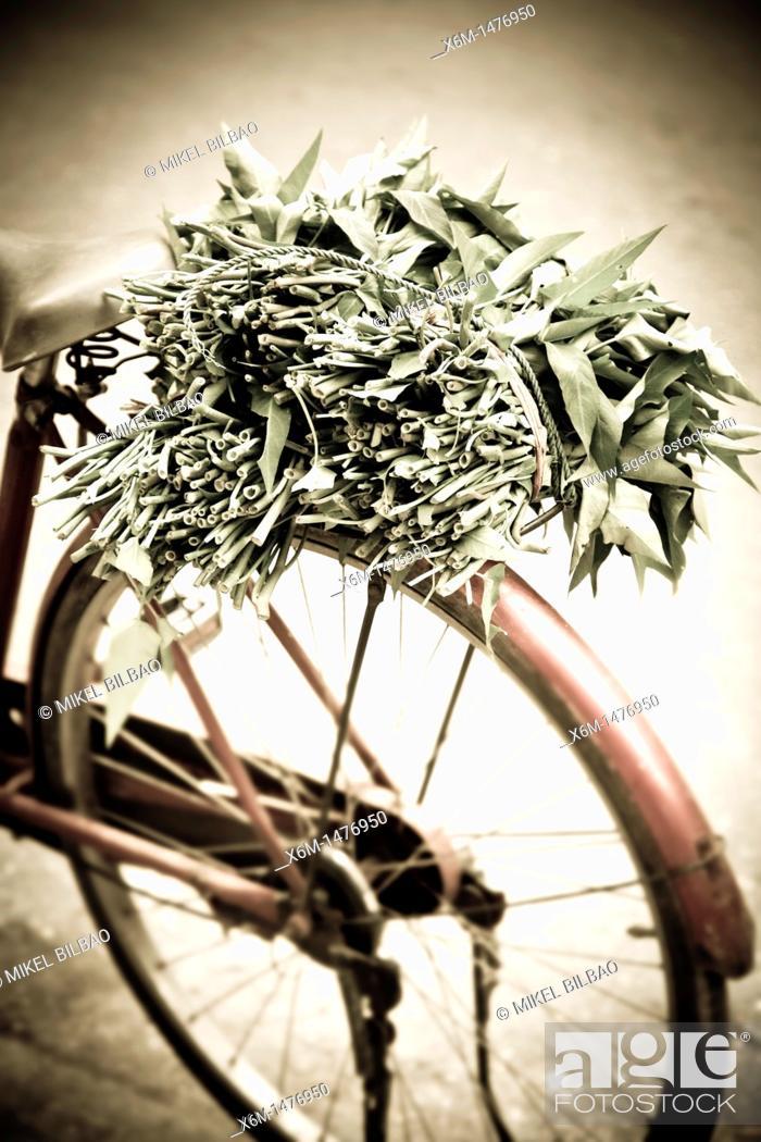 Stock Photo: bicycle and merchant  Hanoi, Vietnam.