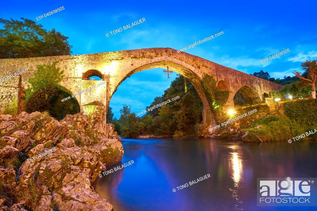 Stock Photo: Cangas de Onis roman bridge on Sella river in Asturias of Spain.