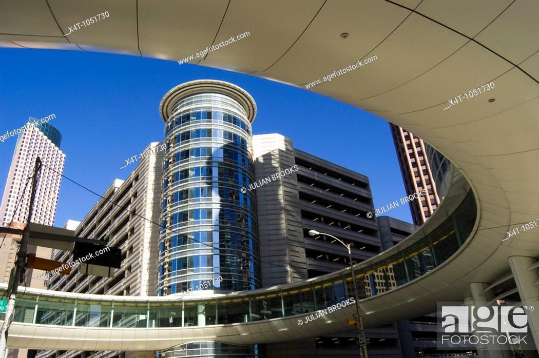 Stock Photo: Modern buildings in the Skyline district of downtown Houston, Texas.