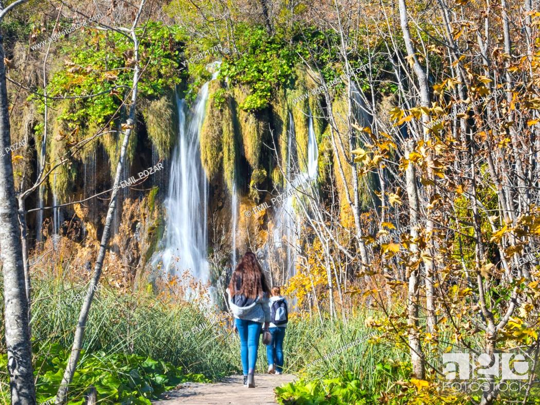 Stock Photo: Autumm Fall season Plitvice lakes Croatia Europe.