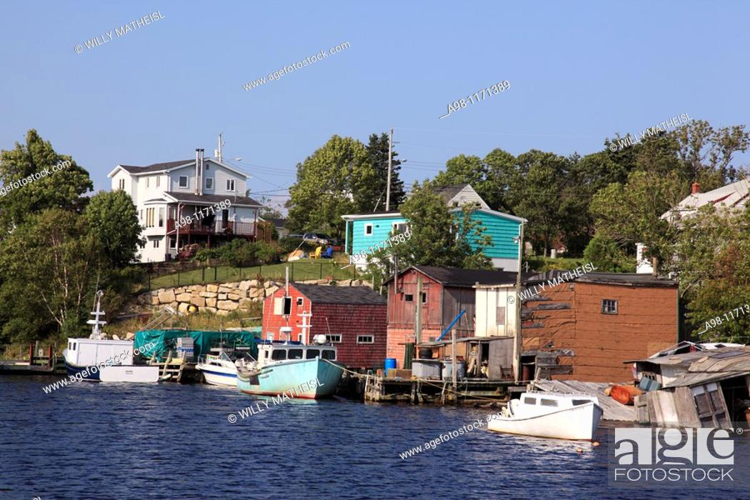 Stock Photo: old traditional fishing village Herring Cove, Nova Scotia, Atlantic Canada.