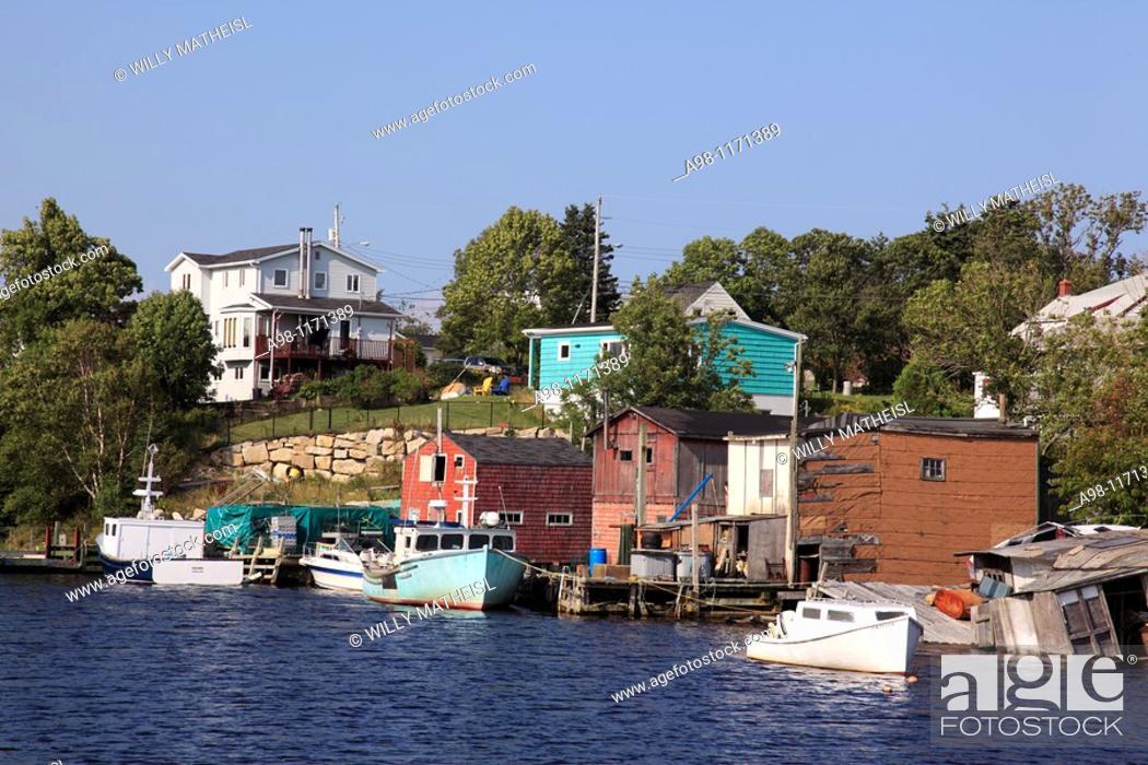 Stock Photo: old traditional fishing village Herring Cove, Nova Scotia, Atlantic Canada.