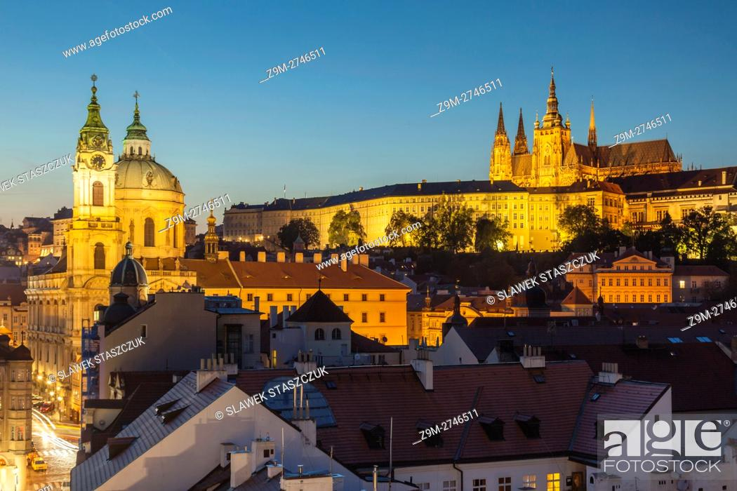 Stock Photo: Night falls in Mala Strana (Lesser Town), Prague, Czech Republic. Hradcany in the distance.