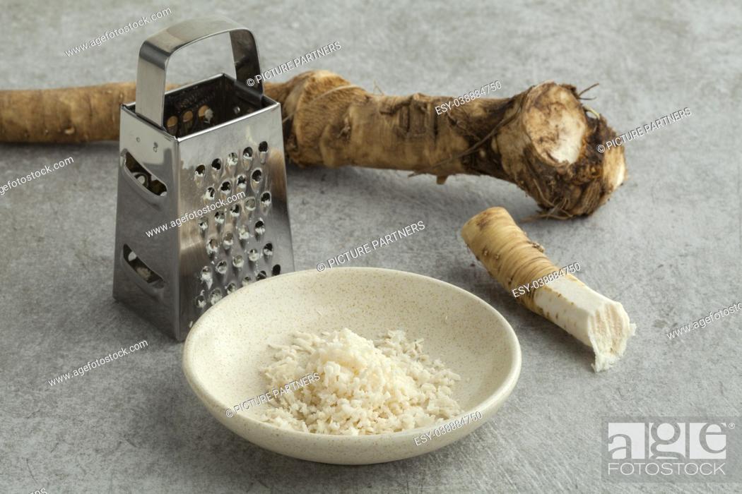 Stock Photo: Grated fresh picked homegrown horseradish.