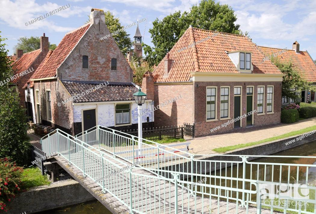Stock Photo: traditional fishermen's houses, enkhuizen, a small town in northern holland, an old fishing village.