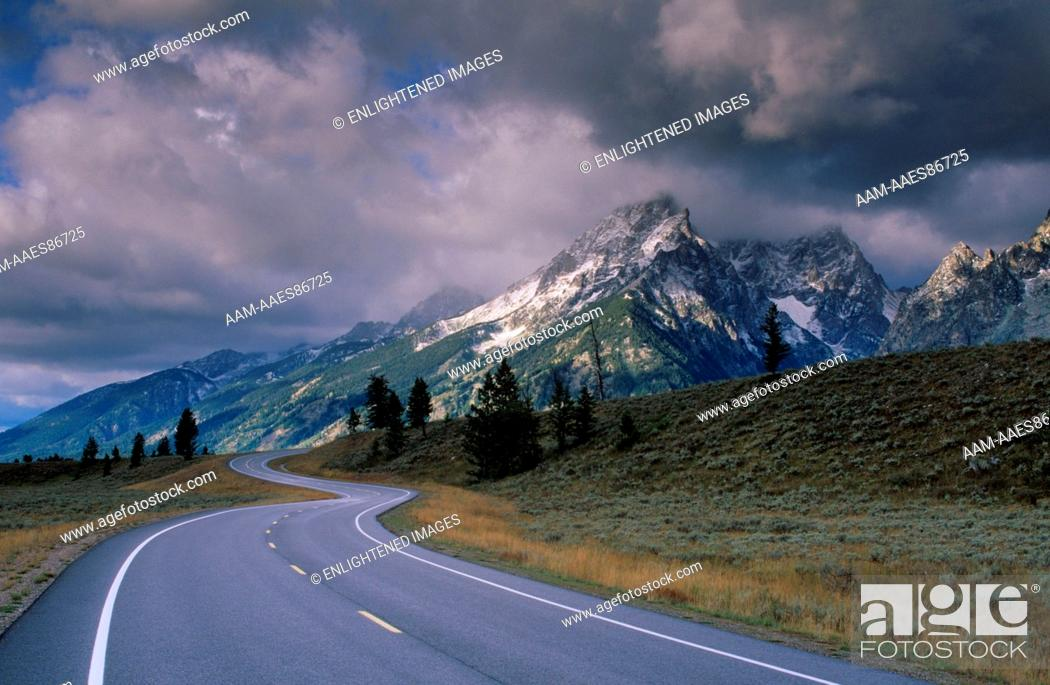 Stock Photo: Road below the Grand Tetons dusted by 1st snow of fall Grand Teton NP/WY.