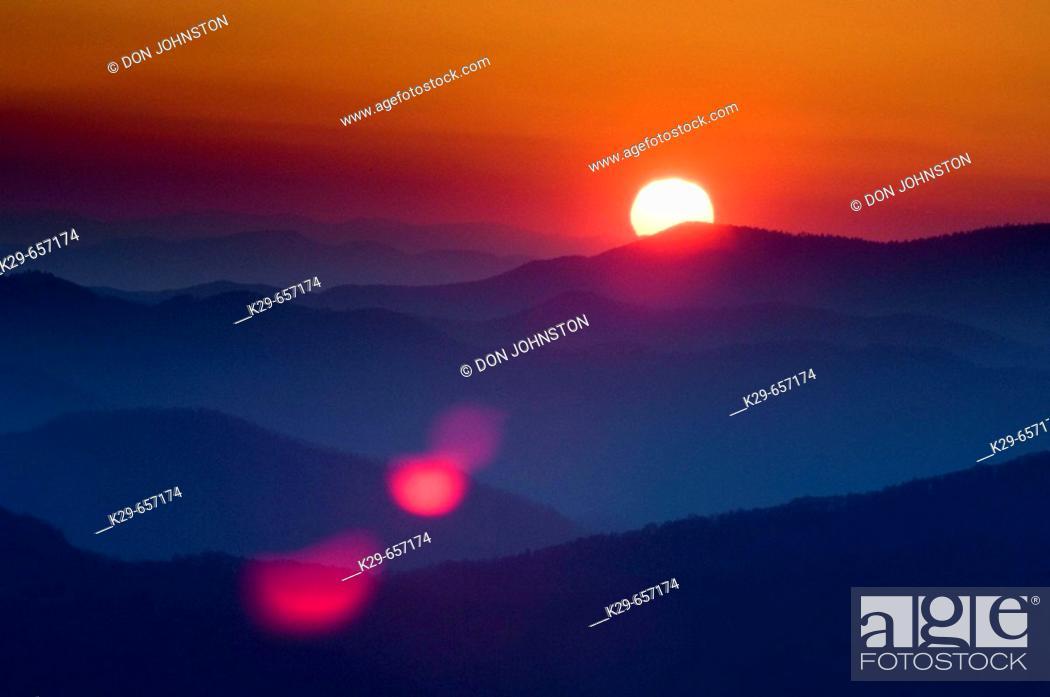 Stock Photo: Sunrise over North Carolina mountain ranges. Clingman's Dome, Great Smoky Mountains National Park USA.