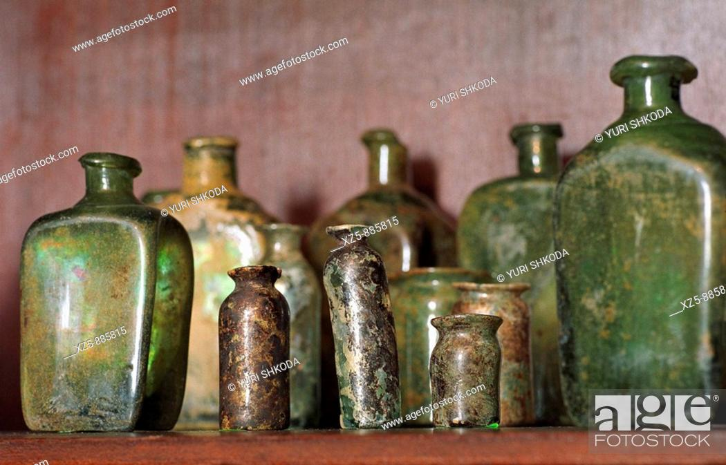 Stock Photo: Old medical bottles.